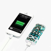 Aztec Green Stripes Light Weight Portable Power Bank Charger for iPhone and Samsung Android