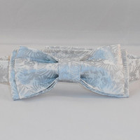 Men's Silver And White Adjustable Bowtie