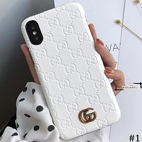 GUCCI simple solid color iphone7/8p couple protection cover phone case #1