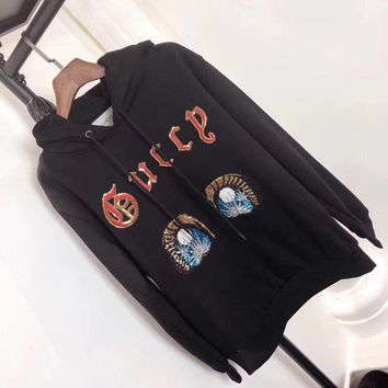 gucci women casual fashion sequin eye letter embroidery hoodie sweater pullover tops