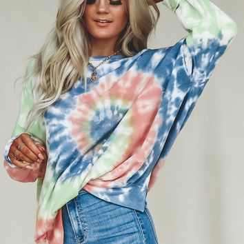 Drive In Movie Cozy Tie Dye Sweatshirt