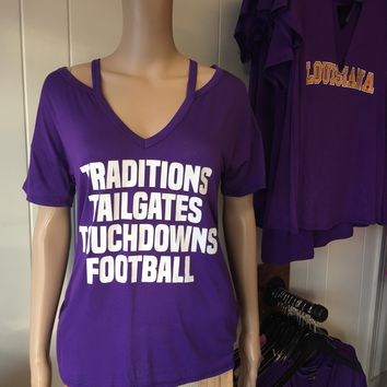 """Purple """"Traditions, Tailgates, Touchdowns, Football"""" Tee"""