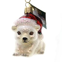 Old World Christmas CHRISTMAS POLAR BEAR Glass Ornament Cub 12449