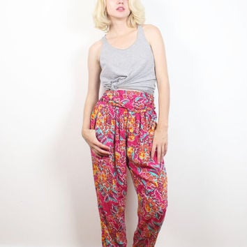 Vintage 80s High Waisted Pants Pink Floral Fruit Print New Wave Harem Pants 1980s Draped Ruched Waist Summer Hipster Slacks XS S Small M