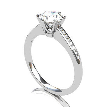 0.50ct GIA-certificated F-VVS1 Diamond ring, white gold, solitaire, engagement ring, Diamond engagement, unique, vintage style, Diamond