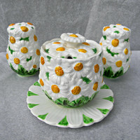Lefton Daisytime Salt and Pepper Shakers and Relish Jam Jelly Pot Serving Bowl