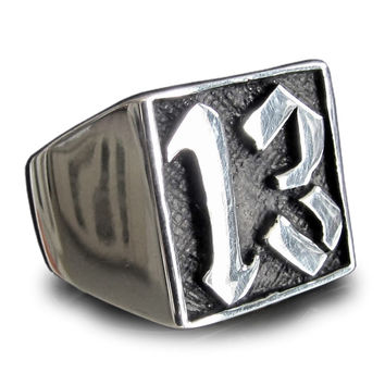 Lucky Number 13 Ring Block Letter in Sterling Silver 925