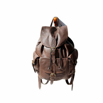 Oak Creek Brown Soft Leather Backpack