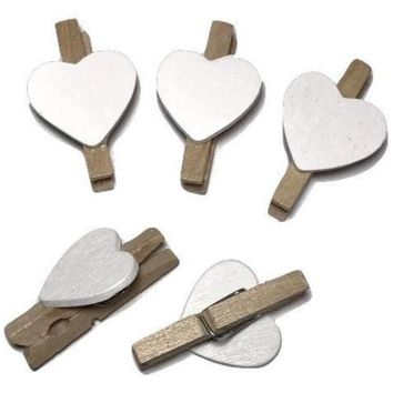 "Mini 1"" clothespins w/ white heart"