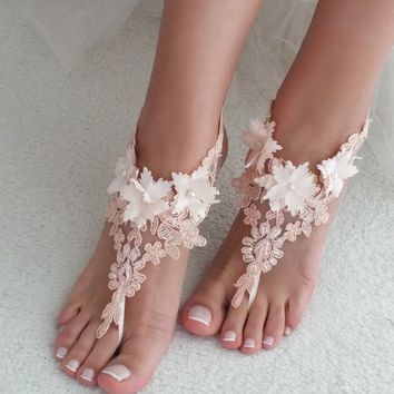 Lace barefoot sandals, Blush barefoot sandals, Wedding anklet, Beach wedding barefoot sandals, Bridal sandals, Bridesmaid gift, Beach Shoes