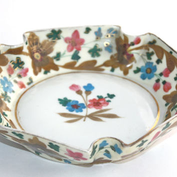 Decorative Antique Bowl / Extraordinary Hand Painted German Porcelain / Home Decor