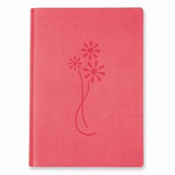 Pink Flowers Faux Leather Essentials Journal - Embossing Personalized Gift Item