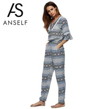 Anself Fashion Floral Print Rompers Womens Jumpsuit V Neck Summer Casual Long Party Playsuit Sexy Bodysuit Women Beach Overalls