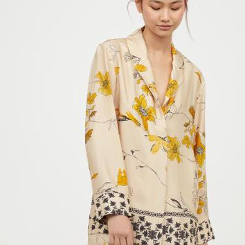 Patterned Blouse - Beige/patterned - Ladies | H&M US