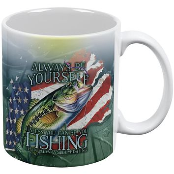 4th of July Always Be Yourself American Fishing All Over Coffee Mug