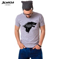 Game Of Thrones Print T Shirt Winter Is Coming Stark Blood Wolf Anime T-Shirt