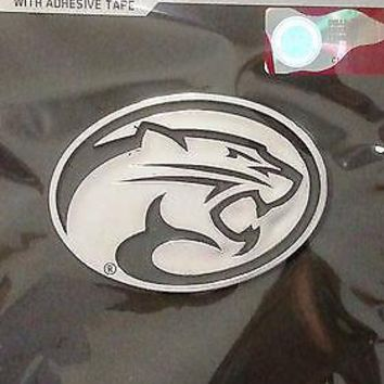Houston Cougars New Logo Silver Chrome Colored Auto Emblem Decal University of