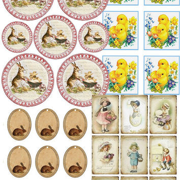 Cute Vintage Baby, Vintage Tag Cutout, Vintage Easter Labels,Baby Chicks Tag,Vintage Baby Label,Cute Baby Stickers,18 Vintage Images,31 Tags