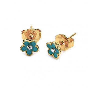 Gold Layered 02.64.0331 Stud Earring, Flower Design, with White Crystal, Turquoise Enamel Finish, Gold Tone
