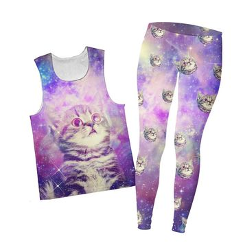 Trippin Kitty Kat Combo Tank Top and Leggings