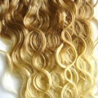 Hair Extensions - Ombre Strawberry Blond/Platinum Blond - Complete Set for Full Head of Clip Ins - 18-20 Inch