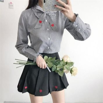 Summer Women's New crop Top doll collar love embroidered shirt + high waist pleated skirt Two piece Set Need to separate orders