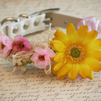 Pink and Yellow Floral Dog Collar, Pet wedding Accessory, Spring Wedding Accessory, Garden Wedding idea, Dog Lovers, Pink and Yellow