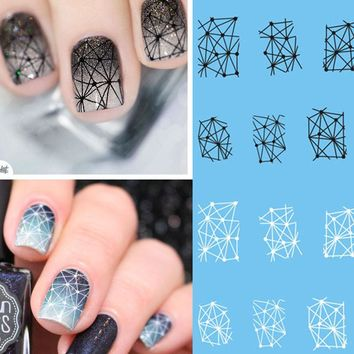 1 Sheet Geometric Patterns Black/White Nail Art Sticker Tattoo Decals Beauty Watermark Stickers Manicure Nail Decor BESTZ498