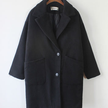 Black Notched Collar Long Sleeve Woolen Coat