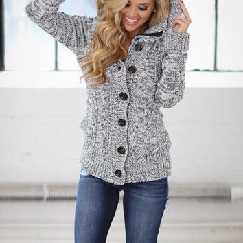 Heather Navy Hooded Sweater