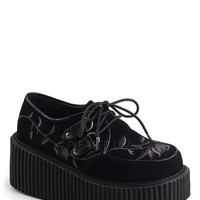Creeper-219 Flower Embroidery Platform Creeper