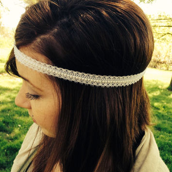 Boho Headband-Bohemian Style Headband-Forehead Hippy Headband-Boho Hair Accessory-Head Wrap-Lace Headband- Headband-White Headband-Boho Styl