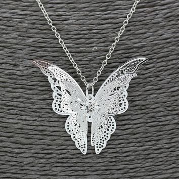 Silver Plated Butterfly Pendant Necklace