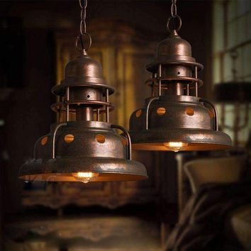 Retro Industrial Rust Copper Hanging Iron Pendant Ceiling Lamp Chandelier Light