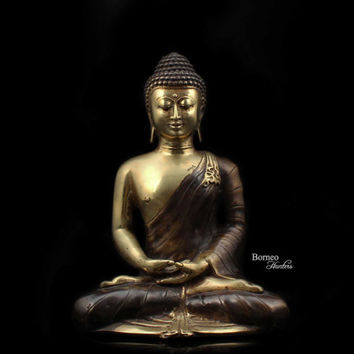 """Meditating Buddha 8.6""""Brass Buddha In Dhyana Mudra Hand Position,Enlightened Serene Tranquil Calm Peaceful Sculpture Home Decor And Living"""