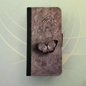 Butterfly iPhone 4 5 flip case Samsung Galaxy S3 S4 leather wallet, flower iPhone wallet, book style, Samsung iPhone 5 - Vintage