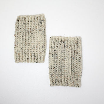 "The ""New Yorker"" Crochet Ankle Warmer Topper / Boot Cuffs - Oatmeal Tan"