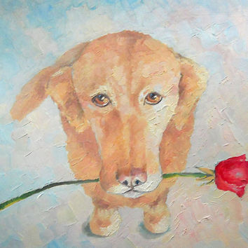 "Sad Dog, Gift, ""I'm sorry, my love)))"", Original Oil Painting, Impasto, Dog, Canvas, Hardboard, Decor, Marriage, Mothers Day, Anniversary"
