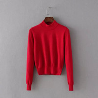 Slim Pullover Knit Tops [6332298436]