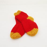 Baby Socks, Hand Knit Boy/Girl socks, Baby socks in Red and Yellow, 0-3 months, Warm Socks for Babies, UK Seller