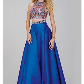 Jovani 32440 In Stock SZ 6 Beaded Two Piece Royal Blue Prom Dress
