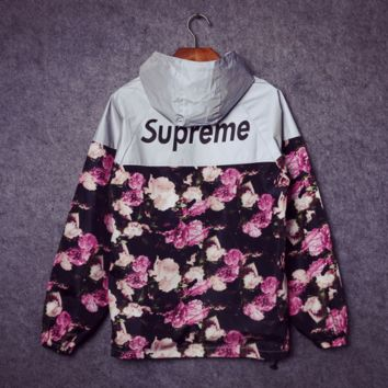 Supreme Unisex Lighting Windbreaker Spureme Thin and thick Flower reflective clothes Back