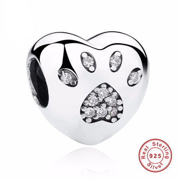 100% 925 Sterling Silver Bead Charm Love Heart Dog Paw Print Fits Pandora Bracelet or Necklace
