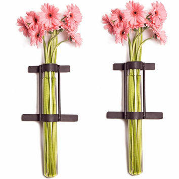 Wall Mount Cylinder Glass Vases with Rustic Rings Metal Stand(Set of 2) by Danya B