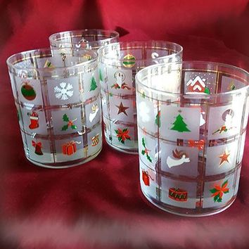 Culver Christmas Potpourri Rocks Glasses