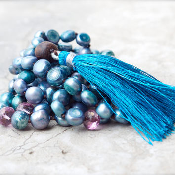 Blue pearl beaded necklace Bohemian hand knotted rose quartz mala Teal tassel necklace Sea inspired jewelry Beach boho Crochet necklace