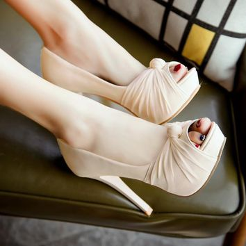 Korean commute patent leather gauze peep toe thin high heels pumps with platform nude color knot sandals women red wedding shoes