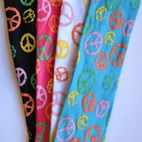 "Funny Girl (Set of 4) 2.5"" Painted Peace Sign Cotton Stretch Headbands"
