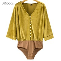 NATOODA New Fashion Velvet Bodysuit Women Vintage 2017 Autumn Casual  Long Sleeve V-neck Sexy BodySuit  Female Clothing