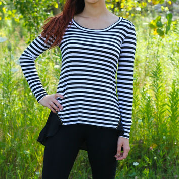 Stripe Back Zipper top